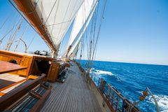 Aboard a yacht on the ionian sea. Beautiful Royalty free stock photo. Aboard a yacht on the ionian sea Stock Image