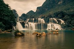 Ban Gioc Waterfall in Vietnam. Beautiful Royalty free stock photo. Ban Gioc Waterfall in Vietnam Royalty Free Stock Images