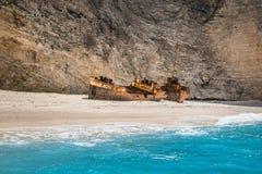 The shipwreck at navagio zakynthos. Beautiful royalty-free stock photography. the shipwreck at navagio zakynthos Greece Royalty Free Stock Photos