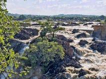 Beautiful Ruacana falls on the border of Namibia and Botswana. stock photo