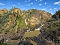 Beautiful Ruacana falls on the border of Namibia and Botswana. stock images