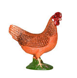 Beautiful rubber toy chicken isolated on white background. Farm Animals Collection. Stock Images
