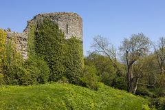 Pevensey Castle in East Sussex. The beautiful ruin of the historic Pevensey Castle in East Sussex, UK. It is a medieval castle and former Roman Saxon Shore fort stock images
