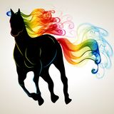 Beautiful running Horse black silhouette with bright color abstr Stock Photography