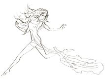 Beautiful running woman. Handdrawing skatch of a beautiful running woman Royalty Free Stock Photography