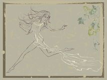 Beautiful running woman vintage. Vintage illustration of beautiful running woman decorated with floral ornament Stock Photo