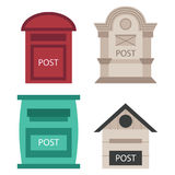 Beautiful rural curbside open and closed postal mailboxes with semaphore flag postbox vector illustration. Beautiful rural curbside open and closed mailboxes Royalty Free Stock Photo