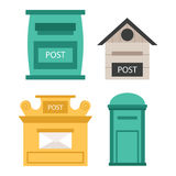 Beautiful rural curbside open and closed postal mailboxes with semaphore flag postbox vector illustration. Beautiful rural curbside open and closed mailboxes Stock Photography