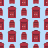 Beautiful rural curbside seamless pattern postal mailboxes with semaphore flag postbox vector illustration. Beautiful rural curbside seamless pattern mailboxes Royalty Free Stock Photo