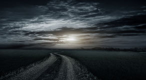 Beautiful, rural, dirt road between fields stock photo