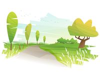 Beautiful rural green field landscape background with morning countryside view. Vector , illustration Stock Images
