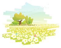 Beautiful rural landscape background with flower field. Vector , illustration Royalty Free Stock Images