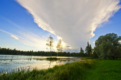 Beautiful rural landscape with a lake Royalty Free Stock Photos