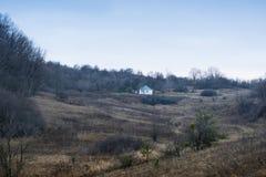 Beautiful rural landscape. Old traditional ukrainian house in Poltava region, Ukraine.  royalty free stock images