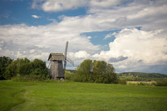 Beautiful rural landscape with old windmill Royalty Free Stock Images