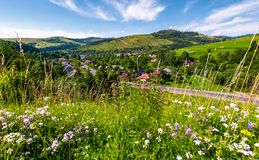 Beautiful rural landscape in summertime. Village along the road and fields with haystacks on hills. view from the grassy slope with wild herbs. nice weather Royalty Free Stock Image
