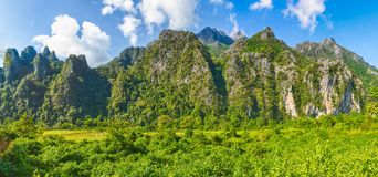 Beautiful rural landscape.Vang Vieng, Laos. Panorama Royalty Free Stock Images