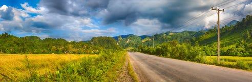 Beautiful rural landscape.Vang Vieng, Laos. Panorama Stock Image