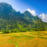 Beautiful rural landscape.Vang Vieng, Laos. Stock Photos
