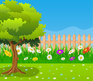 Beautiful rural landscape view. Beautiful spring rural landscape view. fence in grass with flowers. Vector illustration Royalty Free Stock Photos