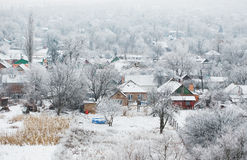 Beautiful rural landscape, village in winter, bird`s eye view Stock Images