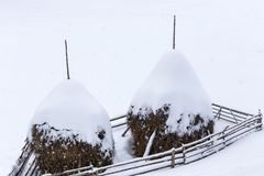 Beautiful rural mountain snowy landscape with haystacks Royalty Free Stock Photography