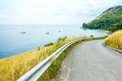 Beautiful Rural Road beside the beach around Phuket islands. Royalty Free Stock Photography