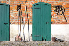 Beautiful rural scene, typical barn wall Royalty Free Stock Image