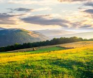 Beautiful rural scenery in mountains at sunrise. Haystack on the field behind the fence. outdated agriculture approach concept stock image