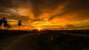 Beautiful rural sunset on the horizon. Royalty Free Stock Photography