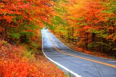 Beautiful rural Vermont drive in autumn time royalty free stock photos