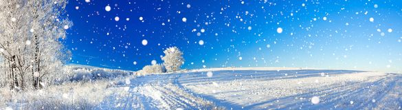 Rural winter landscape a panorama with the blue sky, a field and Stock Image
