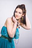 Beautiful Russian girl in green dress Royalty Free Stock Photo