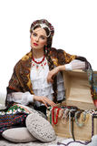 Beautiful Russian girl with hope chest Stock Images