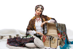 Beautiful Russian girl with hope chest Royalty Free Stock Photo