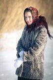 Beautiful Russian girl in national headdress Royalty Free Stock Image