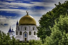 Beautiful russian orthodox cathedral under blue sky. And clouds Royalty Free Stock Image