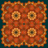 Beautiful russian pattern with fiery flowers. Carpet, tablecloth. Blanket, pillowcase, headscarf, print for fabric, kerchief square design Royalty Free Stock Photos
