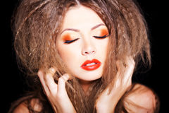 Beautiful Russian woman with red lips Royalty Free Stock Image