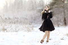 Beautiful Russian woman at winter nature stock photo