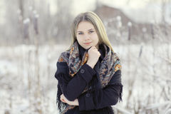 Beautiful Russian woman  at winter nature Royalty Free Stock Images
