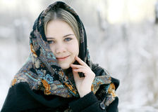 Beautiful Russian woman  at winter nature Royalty Free Stock Photography