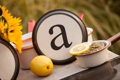Rustic table setting with lettered plate. Beautiful rustic table setting with the letter A incorporated Stock Images