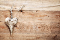 Beautiful rustic wooden heart Royalty Free Stock Images