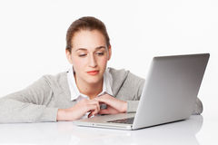 Beautiful 20s girl thinking about career in communication or business Stock Images