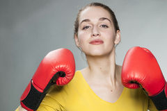Beautiful 20s woman willing to fight for competition Royalty Free Stock Photography