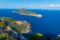 Beautiful on Sa Dragonera from mountains of Tramuntana, Mallorca, Spain royalty free stock photo
