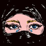 The beautiful sad blonde, blue eyed Muslim girl crying , face hidden in a black headscarf vector illustration