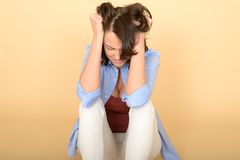Beautiful Sad Depressed and Angry Young Woman Royalty Free Stock Photos