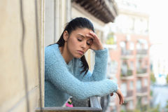 Beautiful sad and desperate hispanic woman suffering depression thoughtful frustrated Royalty Free Stock Photography
